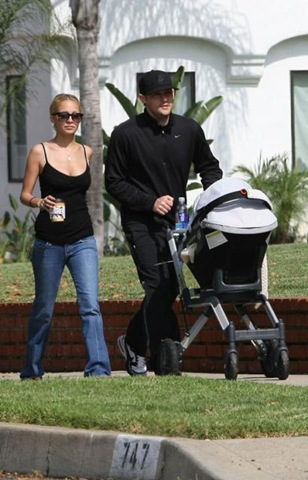 Nicole Richie and Joel Madden Strolling with Baby Harlow