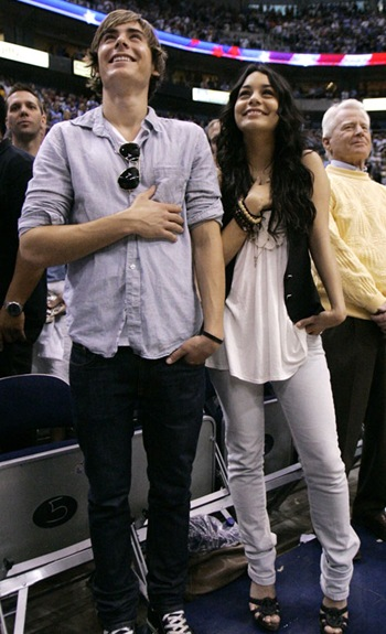 Zac Efron and Vanessa Hudgens Lakers Game