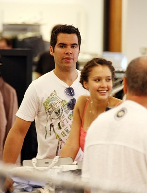 Jessica Alba and Cash Warren Shop Bloomingdales